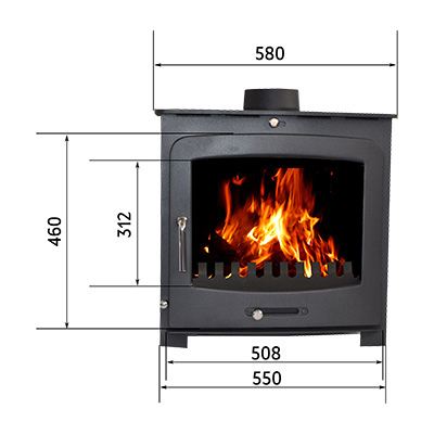Preston Fireplace from the Echo Range with a log stand